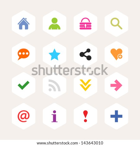 2693b113a6 Basic sign icon set. Simple rounded hexagon internet button beige  background. Solid plain monochrome