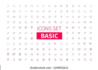 Basic simple outline icons with editable strokes. Thin line style vector illustration.