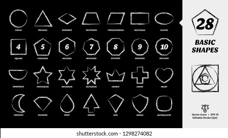 Basic simple shape chalk style icon set on a black board background with geometric figures: circle, triangle, square, rhombus, trapezium, parallelogram, rectangle, ellipse and more.