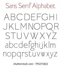 Basic Skeleton Sans Serif Alphabet With Uppercase and Lowercase letters