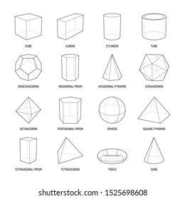 Basic stereometry shapes line set of cuboid octahedron pyramid prism cube cone cylinder torus isolated vector illustration