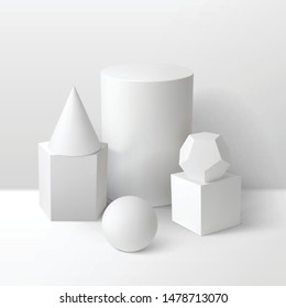 Basic stereometry shapes monochrome composition Including cube cylinder sphere prism cone and dodecahedron 3d vector illustration