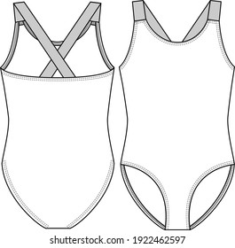 Basic Teen Girls One piece Swimsuit fashion flat sketch template. Contrast Elastic Straps. Swimwear Technical Fashion Illustration.