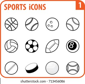 Basic vector sports icon set are as follows : Basketball, Baseball, Bowling, tennis, volleyball, football,  rugby, snooker, cricket, ice-hockey, golf and petanque.
