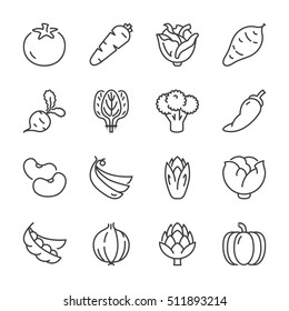 basic vegetables thin line icon set. isolated. black color