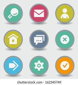 Basic web icons, color circle buttons
