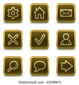 Basic web icons, square brown buttons