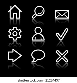 Basic web white contour icons