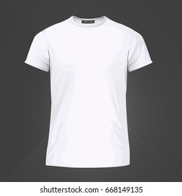 Basic white t-shirt for print. Template for fashionable t-shirt. Vector Illustration