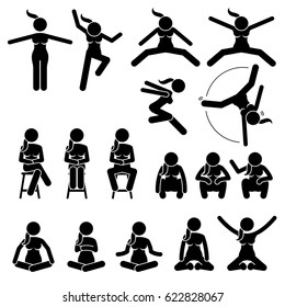 Basic Woman Jump and Sit Actions and Positions. Artworks depict a female human jumping and sitting in various motions and postures.