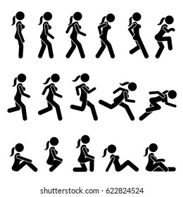 Basic Woman Walk and Run Actions and Movements. Artworks depicts a female human walking and running in various motions, positions, and postures.