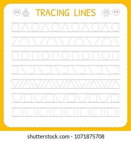 Basic writing. Trace line worksheet for kids. Working pages for children. Preschool or kindergarten worksheet. Vector illustration