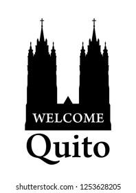 Basilica del Voto Nacional, Black on white Silhouette of Cathedral Towers in Quito, Ecuador. Vector welcome invite banner.