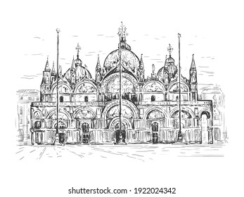 Basilica di San Marco in Venice, Italy. Landmark of Venice. Sketch vector illustration. Black line isolated on white. Vintage design for t-shirt print, postcard, poster, cover