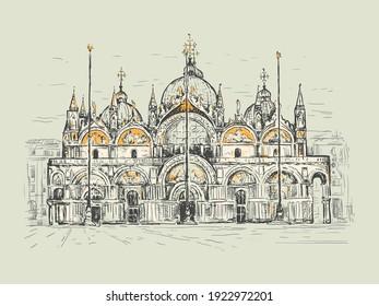 Basilica di San Marco in Venice, Italy. Landmark of Venice. Sketch vector illustration. Vintage design for t-shirt print, postcard, poster, cover