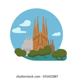 Basilica and Expiatory Church of the Holy Family vector icon sign. Roman Catholic church in Barcelona by Antoni Gaudi. World famous landmark. flat style design. Web application button. Postcard, Stamp