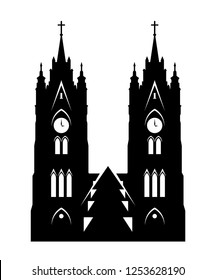 Basilica of the National Vow - Silhouette of Cathedral Church Towers in Quito, Ecuador. Vector illustration of Ecuadorian Church isolated on white.