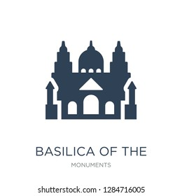 basilica of the sac heart icon vector on white background, basilica of the sac heart trendy filled icons from Monuments collection, basilica of the sac heart vector illustration