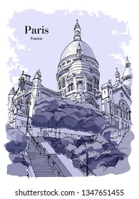 BASILICA SACRE COEUR, PARIS, FRANCE: View to Basilica Sacre Coeur at Montmartre. Hand drawn sketch. Post card, poster, calendar.
