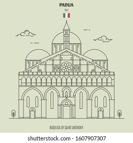 Basilica of Saint Anthony in Padua, Italy. Landmark icon in linear style