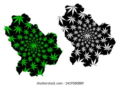 Basilicata (Autonomous region of Italy, Italian Republic) map is designed cannabis leaf green and black, Basilicata map made of marijuana (marihuana,THC) foliage,