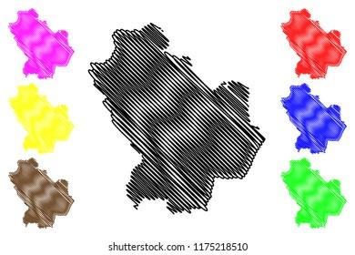 Basilicata (Autonomous region of Italy) map vector illustration, scribble sketch Basilicata map