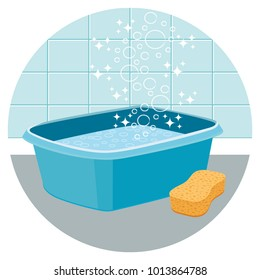 Basin filled with water with sponge. House cleaning vector icon II.