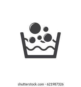 Basin with soap suds and water icon on white background. Cleaning symbol vector illustration.