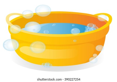 basin with soap suds and water, washing clothes, washing
