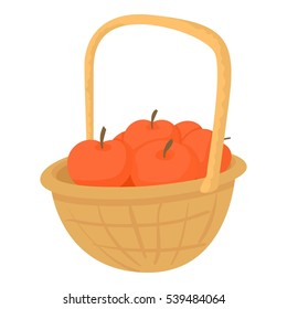 Basket With Apples Icon Cartoon Illustration Of Vector For Web Design