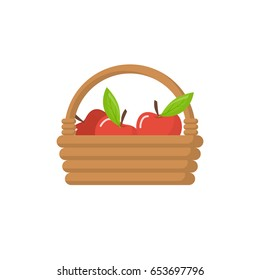 Basket of apples isolated in a flat style on a white background. Harvesting apples. Wicker basket with ripe fruits. Picking apples. Vector illustration. Farming and gardening.