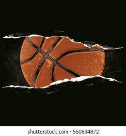 Basket ball behind a rip