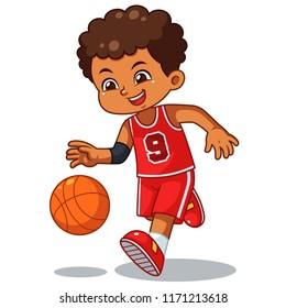 Basket Ball Boy Performing Dribble.