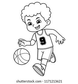 Basket Ball Boy Performing Dribble BW.