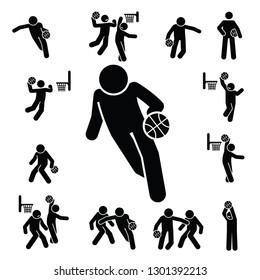 Basket ball icons set