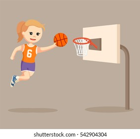 basket ball player girl jumping