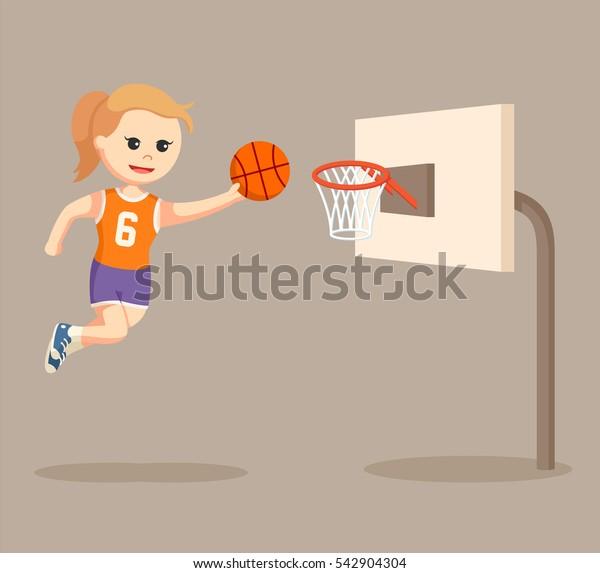 basket ball player girl jumping