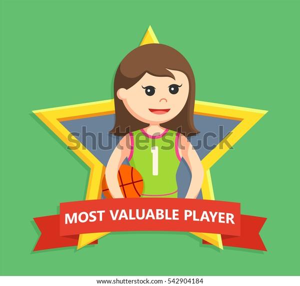 basket ball player girl in star emblem
