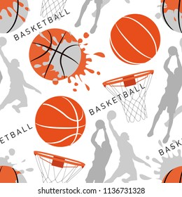 Basket balls texture. Seamless sport pattern with balls. Sports background. Creative grunge design of sport