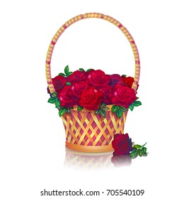 Basket with a bouquet of dark red roses. White background.