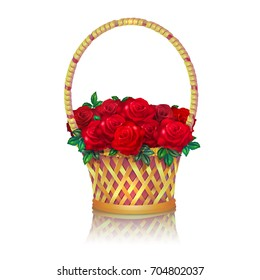 Basket with a bouquet of red roses. White background.