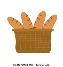 Basket with breads. Holy week. Vector illustration design