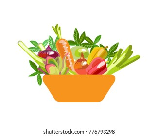 Basket with colorful vegetables. Symbol of healthy eating. Ecologically clean products. Isolated vector element