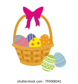 Basket with Easter eggs isolated on a white