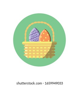basket with easter eggs over white background, block style icon, vector illustration