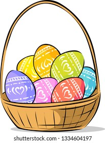 Basket With Easter Painted Egg - Vector Illustration