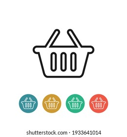 Basket flat vector icon. Purchase flat vector icon. Market flat vector icon