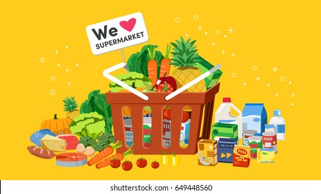 Basket of fresh produce from supermarkets. Diversity in shopping. Everyday life.