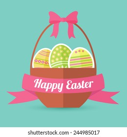 Basket full of colored Easter eggs in flat design, in vector