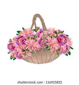 Basket full of flowers dahlias and peonies
